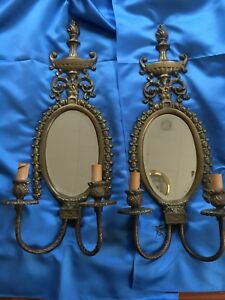 Pair Of Authentic Vintage Brass Wall Sconce Candle Light Holders Glass Mirror