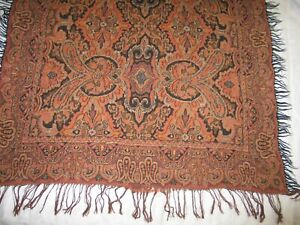 Antique Paisley Shawl English Shawl Tablecloth Throw 40 X 48