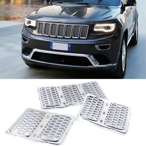 7pcs Chrome Front Mesh Grill Insert Cover For Jeep Grand Cherokee 2014 16