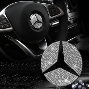 49mm Steering Wheel Center Rhinestone Emblem For Mercedes C E Cls Glc Cla Class
