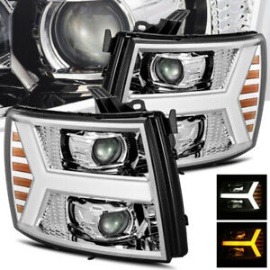 For 2007 2013 Silverado Chrome Drl signal Led Tube Projector Headlights Assembly