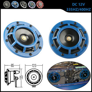 Blue Electric Compact Car Horn Super Loud Blast Tone Grill Mount 12v 335hz 400hz