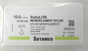 Sutumed Nylon 10 0 3 8 4mm Taper Point Double Armed Surgical Suture