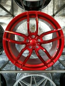 19x8 5 19x9 5 Staggered Candy Red Vosso Style Wheels For Jdm 5x114 3