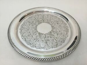 Vintage Wm A Rogers Round Silverplate Tray 12 1 4 Diameter X 3 4 High