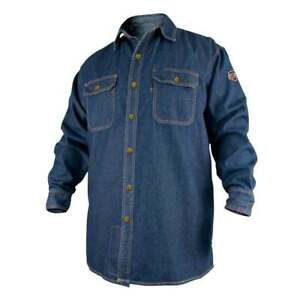 Black Stallion Fs8 dnm Fr Cotton Denim Long Sleeve Work Shirt 2x large