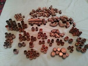 Huge Lot Of 160 Assorted Copper 1 2 3 4 And Bigger Plumbing Fittings