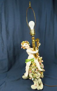 Antique Capodimonte Italian Porcelain Cherub Play Harp On Rose Stand 33 H Lamp