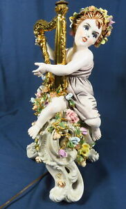 Antique Capodimonte Italian Porcelain Cherub In Robe Harp Rose Stand 33 H Lamp