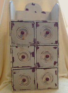 Vintage Painted Wood 6 Drawer Spice Jewelry Box Cabinet Apothecary 17 X 8 X 5 In
