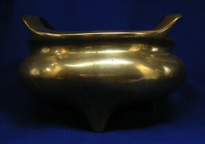 Large Antique Mid 19th Chinese Bronze Censor On Hardwood Stand