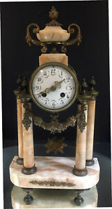 French Clock 19th Century Marble With Columns Runs Ormolu Buy It Now