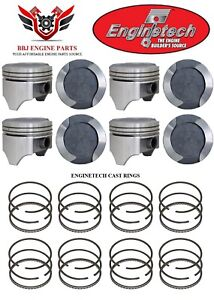 Ford 400 Modified V8 Enginetech Dish Top Pistons 8 With Rings 71 82