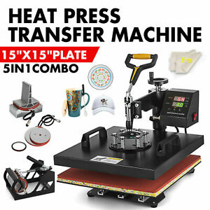 5in1 Combo T shirt Heat Press Transfer Machine Sublimation Swing Away 15 x15