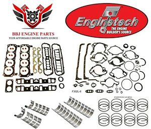 Enginetech Ford 302 5 0 Re Ring Rebuild Kit With Main Bearings 1983 1986