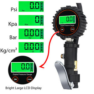 0 250psi Digital Lcd Electric Tire Pressure Inflator Gauge 5pcs X Valve Caps