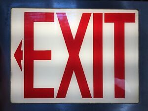 Vintage Industrial Mc Philben Made exit Sign Glass Metal Front Piece Only