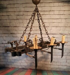 Antique Vintage Large Ceiling Hanging Light Wrought Iron 6 Arm Gothic Chandelier
