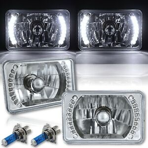 4x6 White Led Halo Angel Eye Headlight Halogen Headlamp 55 60w Light Bulbs Pair