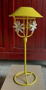 Vintage Yellow Italian Tole Ware Candle Lamp Shabby Chic Garden Cottage 16 Tall