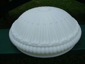 Antique Vintage Large Milk Embossed Glass Dome Chandelier Light Shade 15 Od