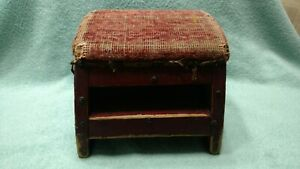 Vintage Wooden Foot Stool Rectangular Tapestry Needlepoint Brass Nails Primitive