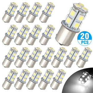 20x Super White 1156 1141 13 Smd Rv Camper Trailer Led Interior Light Bulbs 12v