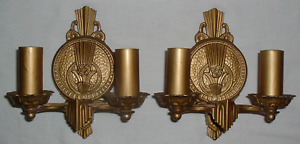 2 Double Bulb 1920 Brass Moe Bridges Light Sconce Fixtures 32177 Need Switches