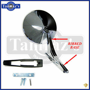 Chevy Chrome Round No Bowtie Rear View Ribbed Base Door Side Mirror
