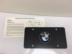Bmw Marque Black License Plate 12 X 6 Bmw Emblem With Screw Covers