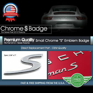 Chrome S Badge Rear Lid Trunk Emblem For Porsche 911 Cayman Macan Cayenne Turbo