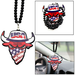 Abs Acrylic Hip Hop Style Usa Bull Necklace Mirror Hanging Rearview Car Decor