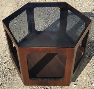 Mid Century Modern Lane Hexagonal End Coffee Table With Smoked Glass Top