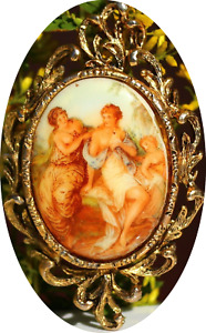 Antique Victorian Style Pin Brooch Pendant Porcelain Painting