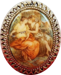 Antique Style Porcelain Enamel Two Victorian Ladies Framed Pin Brooch Pendant