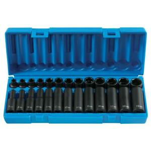 Grey Pneumatic 1226m 26 Piece 3 8 Drive 6 Point Metric Impact Socket Set