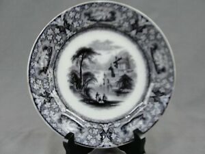 Rare Flow Black Mulberry Ironstone Lawrence Pattern Plate By Davenport 7 1 2 W