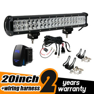 20 126w Spot Flood Combo Led Light Bar With Wiring Harness Kit Switch
