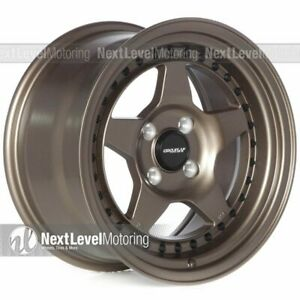 Circuit Cp26 15x8 4 100 25 Matte Flat Bronze Wheels Fits Honda Civic Eg Ek Si