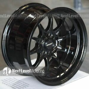 Circuit Cp29 15x8 4 100 4 114 3 0 Full Gloss Black Wheels Fit Honda Civic Eg Ek
