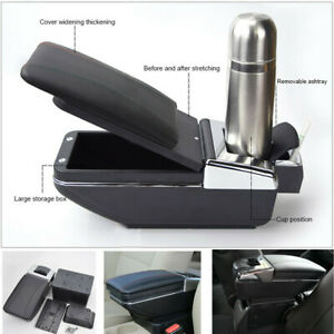 Universal Pu Leather Car Armrest Box Center Console Pads W Cup Holder Black us