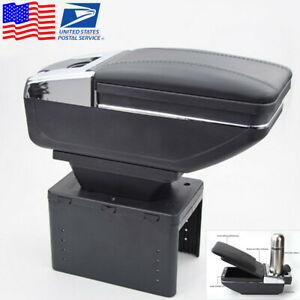 Black Pu Leather Car Central Console Container Armrest Box W cup Holder Us Stock