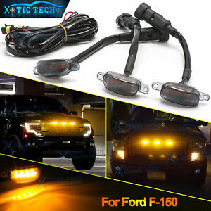 For Ford F 150 Raptor Front Grille 3pcs Smoked Lens Amber Led Lamp Running Light