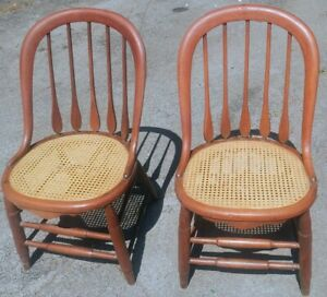 Two Antique Cane Bottom Chairs