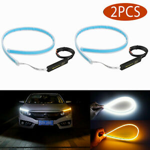 2 X 60cm For Headlight Led Drl Light Amber Sequential Flexible Turn Signal Strip