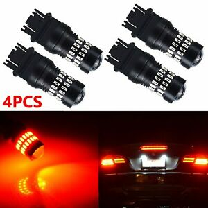 4 Pcs Pure Red 3157 48 smd Led Light Bulbs Brake Tail Stop Lights 3457 3057 3528