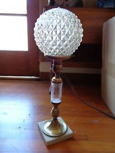 Antique Vintage Art Deco Table Lamp Etched Glass Center Piece