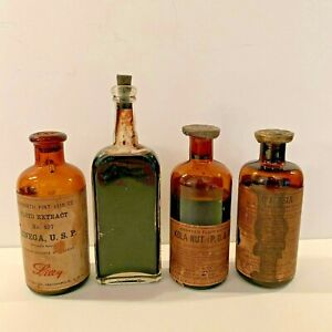 Antique Lot Of 4 Brown Medicine Bottles With Labels And Contents In Tact Rare