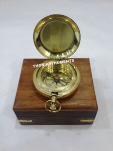 Nautical Brass Push Button Compass Collectible Marine With Natural Wooden Box