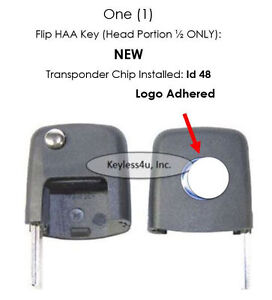 Keyless Remote Flip Key Fits Vw Volkswagen Transponder Chip Megamos 48 Id48 Chip